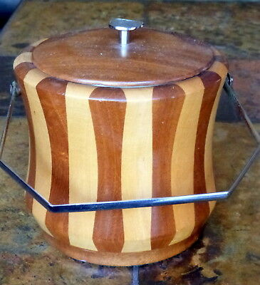 old/vintage two tone wood biscuit barrel