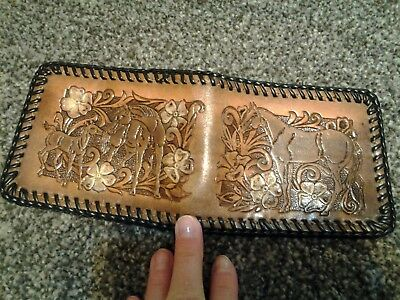 WESTERN LEATHER TOOLED HORSE & COLT MENS bi-fold WALLET