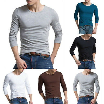 Mens Slim Fit Long Sleeve O Neck Muscle Tee Casual T-shirt Sports Tops Blouse