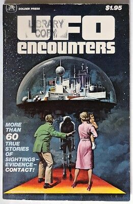 S401 Vintage: UFO ENCOUNTERS Trade Paperback by Golden Press (1978) LIBRARY COPY