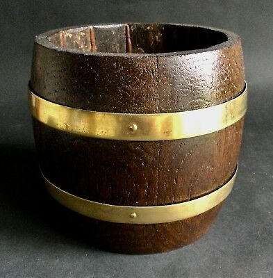 Lovely Vintage Solid English Oak Coopered Desktop Barrel With Brass Rings