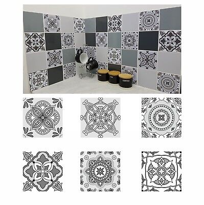 Grey Patterned Mosaic Tile Stickers Transfers for 150mm x 150mm / 6 x 6 Inch G01