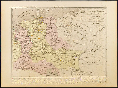 1859. Germania & Empire Charlemagne. Map geographical antique per Houze