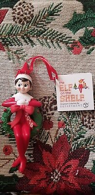 Holiday Ornaments ELF IN WREATH DATED 2016 Polyresin Elf On The Shelf 4051640