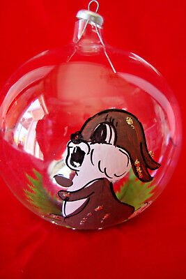 Vintage Walt Disney Production, Hand Blown and Painted Glass Ornament, Thumper