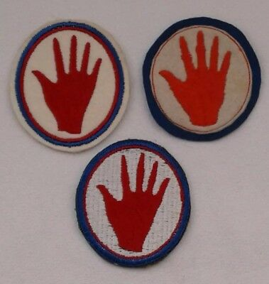 3 WWI & WWII 93rd Division 372nd Regiment Shoulder Patches ~ Red or Bloody Hand