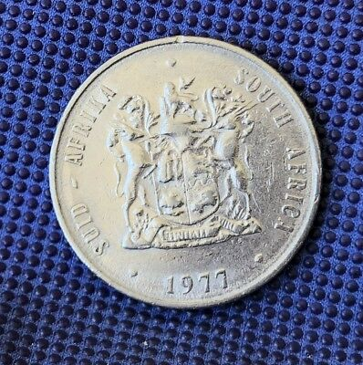 1977 South Africa 1 Rand Average Circulated Condition highly collectible