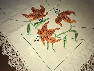 Vintage Tiger Lily Hand Embroidered Linen Tablecloth
