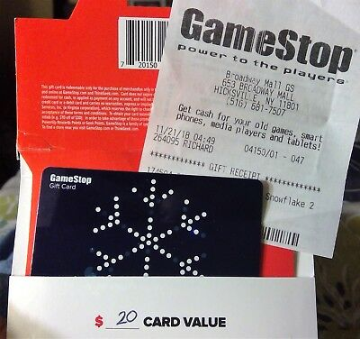 $20 GameStop Physical Gift Card - USPS First Class Mail Delivery