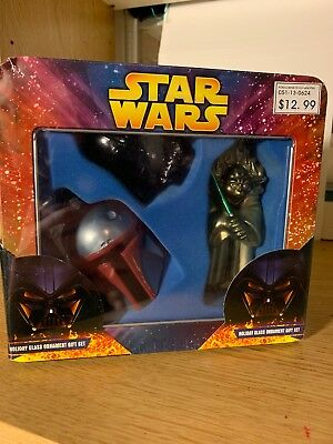 Star Wars Christmas Holiday Glass Ornament Gift Set Darth Vader Boba Fett Yoda