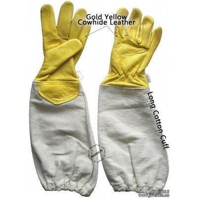 Childrens Large Beekeeping Gloves Kids Beekeepers Bee Gloves 100% Leather Yellow
