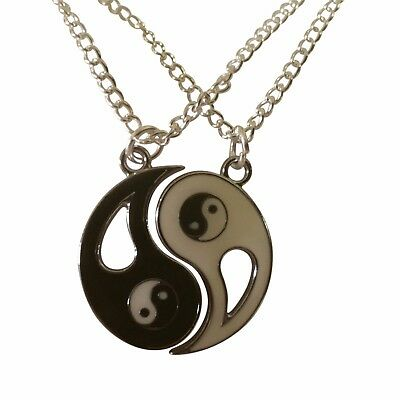 """Best Friend, Friendship, BFF, Set of 2 Yin & Yang Necklaces, 18"""" Chains NEW"""