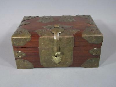 Nice Old Chinese Rosewood & Brass Box, Turtle Latch