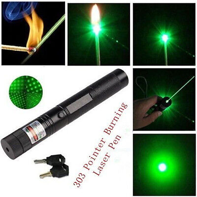 1mw 303 Green Pointer Laser Pen Adjustable Focus 532nm Powerful + Safety Key