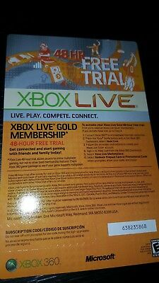XBOX LIVE 2 Day 48 Hrs GOLD Trial Membership Digital Code Card Microsoft One 360