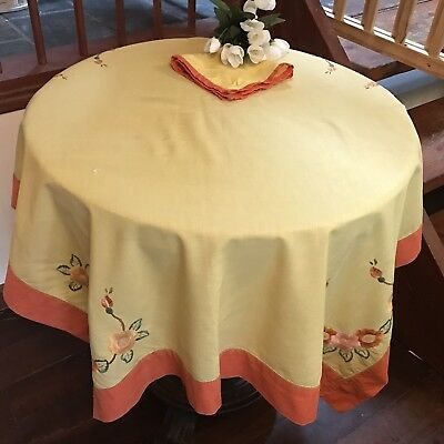 Vintage Hand Embroidered Orange Rose Yellow Linen Square Tablecloth & Napkins