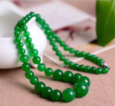 Beautiful Fashion 6-14mm New Natural Green Jade Round Beads Tower chain Necklace