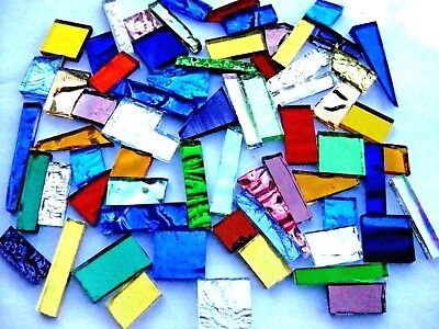 50 grams Mixed Colour Mosaic MIRROR Tile off cut pieces Arts Crafts