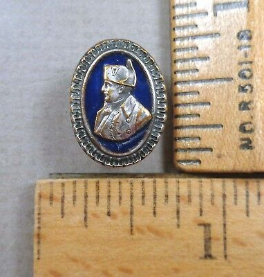 NAPOLEON, Plated Brass Picture BUTTON, Head & Shoulders, Enamel Background