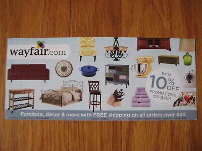 Wayfair 10% off entire order COUPON expire 12/31/18 card certificate Wayfair.com