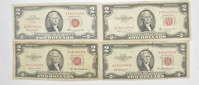 Lot (4) Red Seal $2.00 US 1953 or 1963 Notes - Currency Collection *516