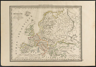 1840 - Old map of l'Europa after l'invasion barbarians (Dufour & picqué
