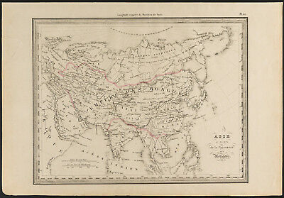 1840 - Old map of l'Asia under the Mongols (Dufour & Picquet)