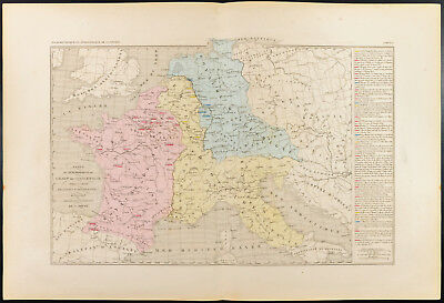 1859. Empire Charlemagne. Map geographical old Dismemberment Europa
