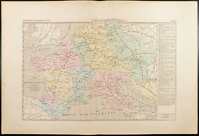 1859. Empire Charlemagne. Map geographical old Europa, engraving Houze