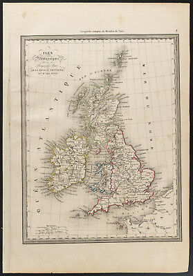 1840 - Old Map of the british isles (Dufour & Picquet) Antique Map
