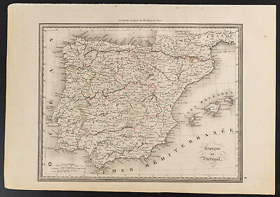 1840 - Antique Map d'Espagne and of the Portugal (Dufour & Picquet) map España