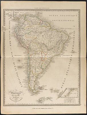 1840 - Map old d'America the South (Dufour & Picquet) Map South America