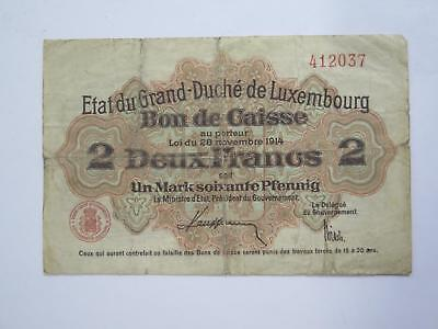 Luxembourg 1914 Zwei Franken 2 Francs Old World Banknote Currency Collection Lot