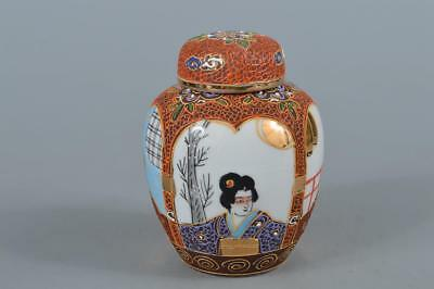 R3097: Japanese Old Kutani-ware Colored porcelain TEA CADDY Chaire Container