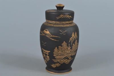 R3096: Japanese Kutani-ware Black glaze Gold paint TEA CADDY Chaire Container