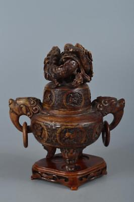 R3164: Chinese Resin Zodiac Dragon sculpture Shapely INCENSE BURNER Tea Ceremony