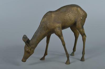 R3178: Japanese Copper Deer STATUE sculpture Ornament Figurines Okimono