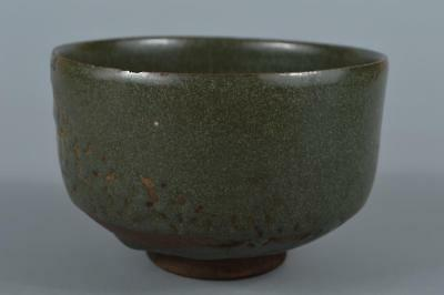 R3868: Japanese Old Tamba-ware Green glaze TEA BOWL Green tea tool Tea Ceremony