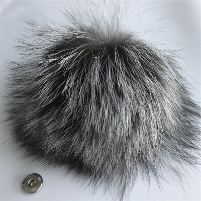 15cm Real Silver Fox Fur Pompom Ball w Snap Button DIY hat shoes accessory