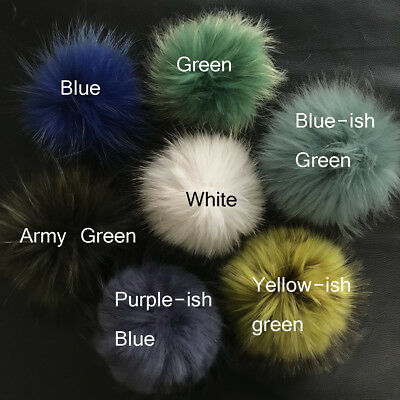 2pcs 6inch Large Real Raccoon Fur Pom Pom Ball with Snap Button Knitting Hat DIY