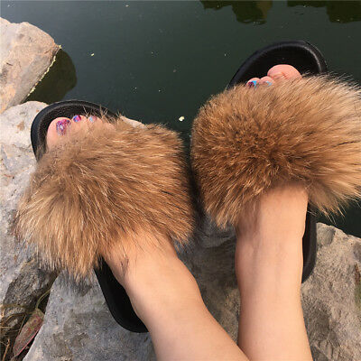 9f0a69c9e06d6 REAL NATURAL RACCOON Fox Fur Slides Shoes Slippers Sandals Shoes - Brown