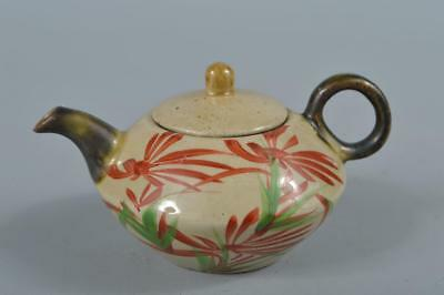 R3884: Japanese Ryukyu-ware Colored porcelain Flower pattern TEAPOT Kyusu Sencha