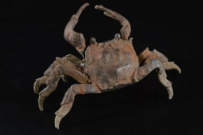 G1074: Japanese Copper Crab STATUE sculpture Ornament Figurines Tea Ceremony