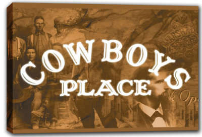 scba756 Western Cowboys Place Stretched Canvas Print Decor Sign