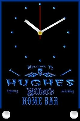 tncx1088-tm Hughes Home Bar Garage Custom Name LED Table Clock