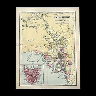 Beautiful antique c1880s colour map of SOUTH AUSTRALIA - 130+ years old & VGC !