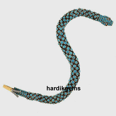Solid 925 Sterling Silver Natural Diamond & Turquoise Victorian Snake Necklace