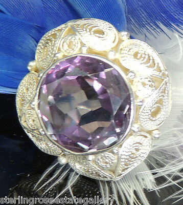 """12 mm Alexandrite Vintage 7/8"""" Hand Wrought Sterling Silver .925 Ring adjustable"""