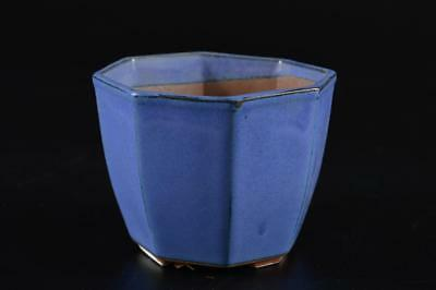 G1100: Japanese Tokoname-ware Blue glaze WASTE-WATER POT Kensui Tea Ceremony