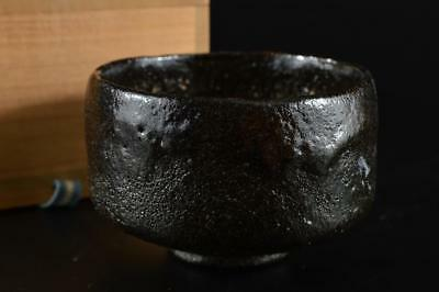 G1121: Japanese Raku-ware Black glaze TEA BOWL Green tea tool w/box Tea Ceremony